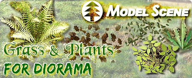 Model Scene: Various plants and grass mats for your diorama